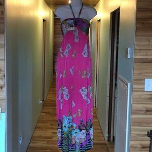 Vibrant Pink Floral Maxi Dress